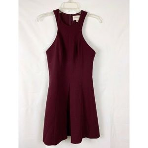 Keepsake Burgundy Fit Flare Dress Sz S